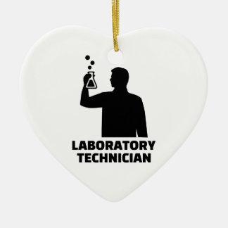 Laboratory technician ceramic heart ornament