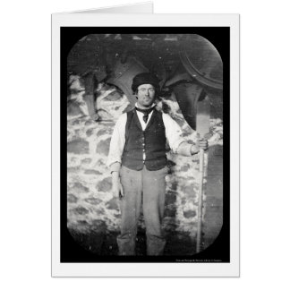 Laborer with Tool Daguerreotype 1851 Card