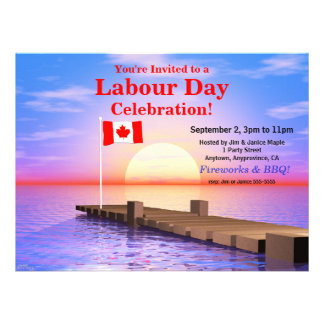 Labour Day Party Canadian Flag on Dock Invite