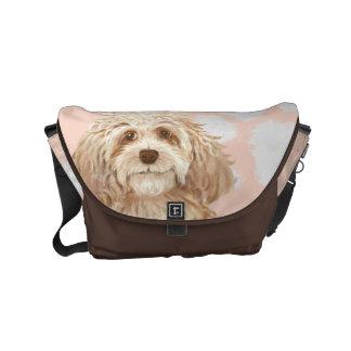 Labradoodle Brown Love Messenger bag | Dog Cartoon