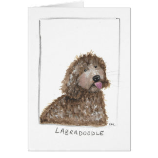 labradoodle design greeting card, blank inside, card