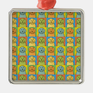 Labradoodle Dog Cartoon Pop-Art Metal Ornament