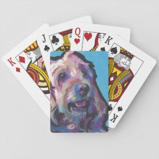 Labradoodle Dog fun bright pop art Playing Cards