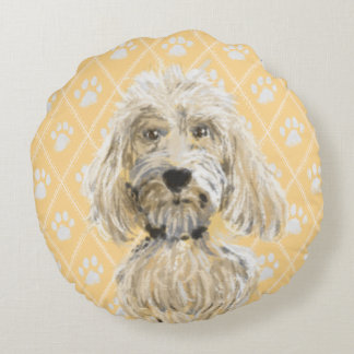 Labradoodle Dog Paintings / Labradoodle Love Round Pillow