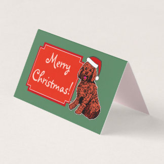 Labradoodle Merry Christmas Folded Tent Card