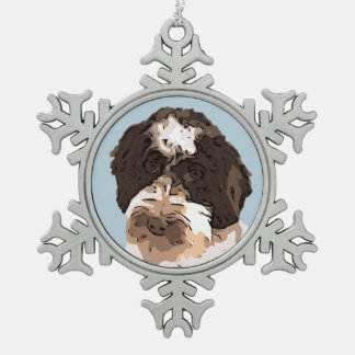 LABRADOODLE SNOWFLAKE PEWTER CHRISTMAS ORNAMENT