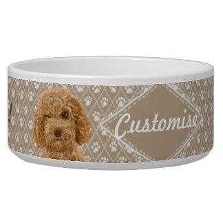 ©LabraDoodleFriends Dog Labradoodle Bowl Beige Pet Water Bowls