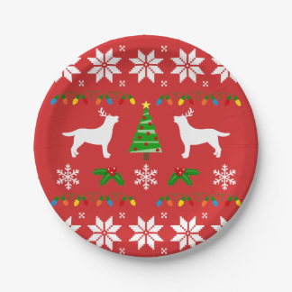 Labrador Antlers Ugly Christmas Paper Plate