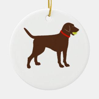 labrador ball fetch, chocolate lab play round ceramic ornament
