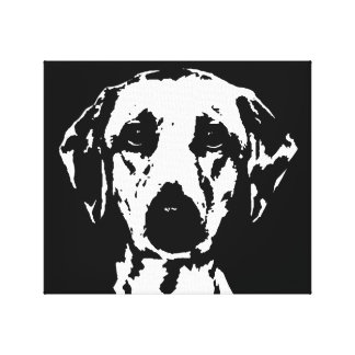 Labrador Black & White Wrapped Canvas Print