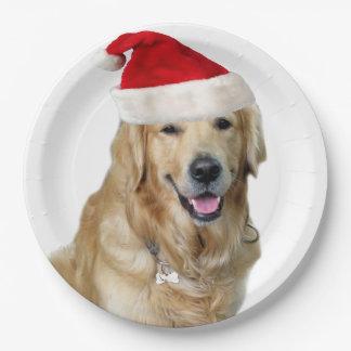 Labrador christmas-santa claus dog-santa dog-pet paper plate