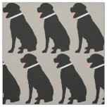 Labrador Dog Black Pattern Fabric