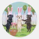 Labrador Easter Bunnies!! Round Sticker