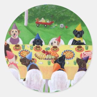 Labrador Party Round Sticker