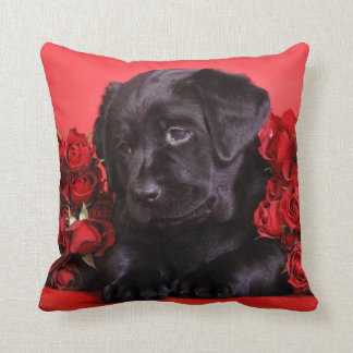 Labrador puppy with roses throw pillow