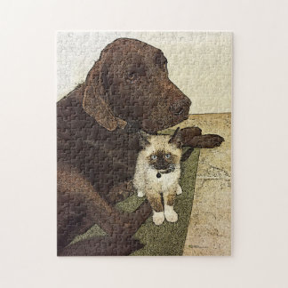 Labrador Retriever And A Kitten Buddy Jigsaw Puzzle