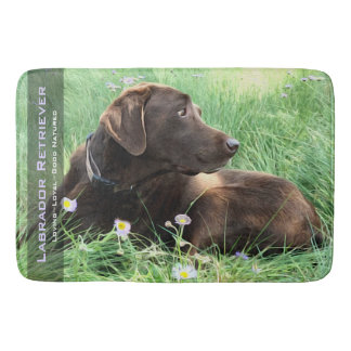 Labrador Retriever And Purple Flowers Bath Mat