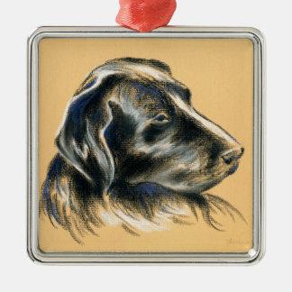 Labrador Retriever - Black Dog Pastel Drawing Metal Ornament