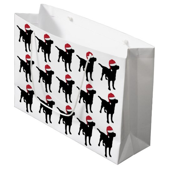 Labrador Retriever Black In Red Santa Hat Large Gift Bag