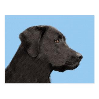 Labrador Retriever Black Painting Original Dog Art Postcard