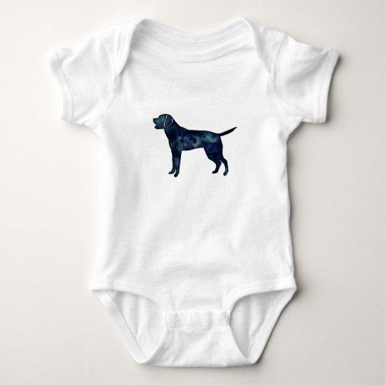 Labrador Retriever Black Watercolor Silhouette Baby Bodysuit