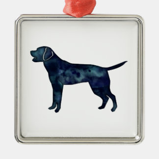 Labrador Retriever Black Watercolor Silhouette Metal Ornament