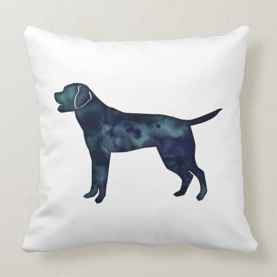 Labrador Retriever Black Watercolor Silhouette Throw Pillow