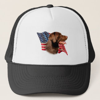 Labrador Retriever (chocolate) Flag Trucker Hat