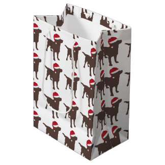 Labrador Retriever - Chocolate - In Red Santa Hat Medium Gift Bag
