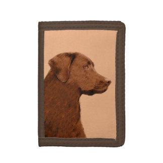 Labrador Retriever (Chocolate) Painting - Dog Art Tri-fold Wallet