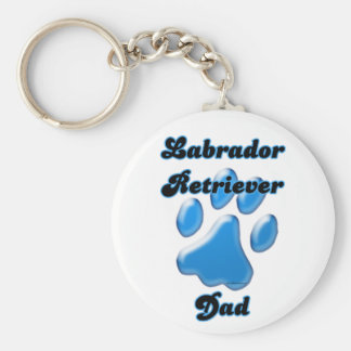 Labrador Retriever Dad Blue Pawprint Keychain