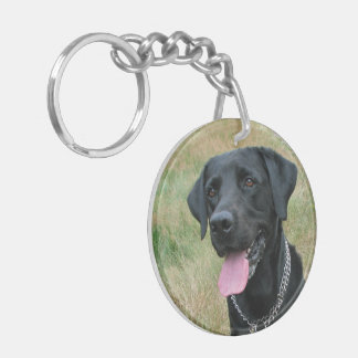Labrador Retriever dog black beautiful photo Keychain