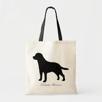 Labrador Retriever dog black silhouette tote bag