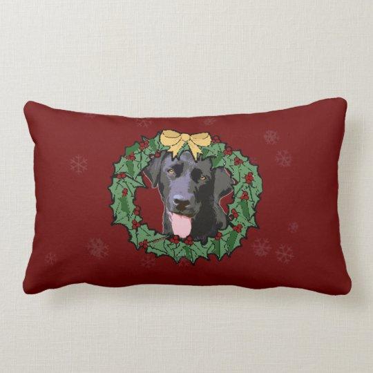 Labrador Retriever Dog: Lab Dog for Christmas 2 Lumbar Pillow