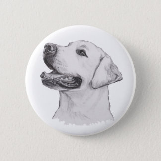 Labrador Retriever Dog Portrait Drawing 2 Inch Round Button
