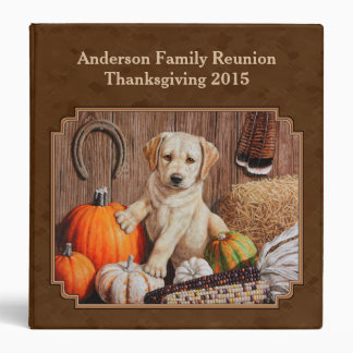 Labrador Retriever Dog & Pumpkins Brown 3 Ring Binders