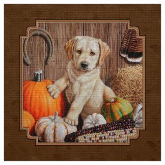 Labrador Retriever Dog & Pumpkins Brown Fabric