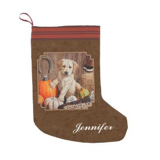 Labrador Retriever Dog & Pumpkins Brown Small Christmas Stocking