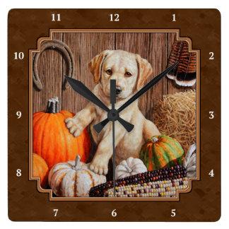 Labrador Retriever Dog & Pumpkins Brown Wall Clocks