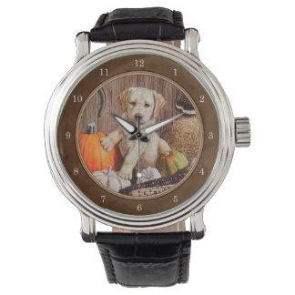 Labrador Retriever Dog & Pumpkins Brown Wrist Watches