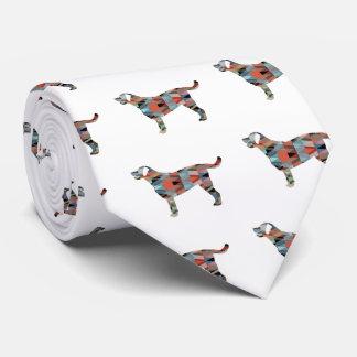 Labrador Retriever Geometric Pattern Silhouette Tie