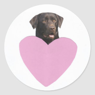 Labrador Retriever Happy Valentine's Day Classic Round Sticker