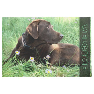 Labrador Retriever In Grass and Purple Flowers Doormat