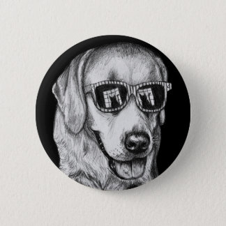 Labrador Retriever in Shades with Cat Reflection 2 Inch Round Button