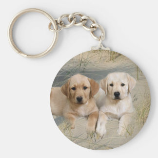 Labrador Retriever Keychain Pups On Beach