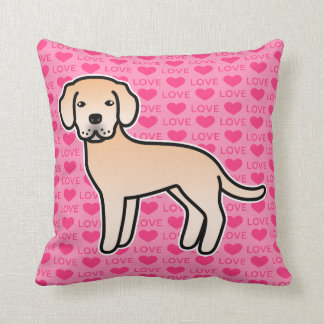 Labrador Retriever Light Yellow Love Hearts Throw Pillow