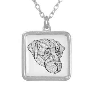 Labrador Retriever Mandala Silver Plated Necklace