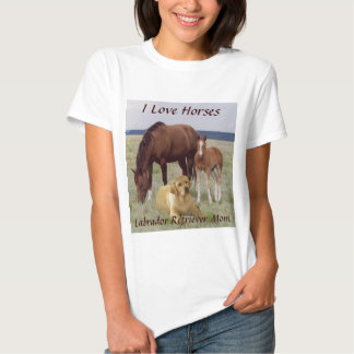 Labrador Retriever Mom T-Shirt With Horses
