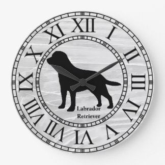 Labrador Retriever on Washed Wood Large Clock