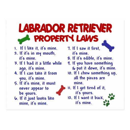 LABRADOR RETRIEVER Property Laws Post Cards